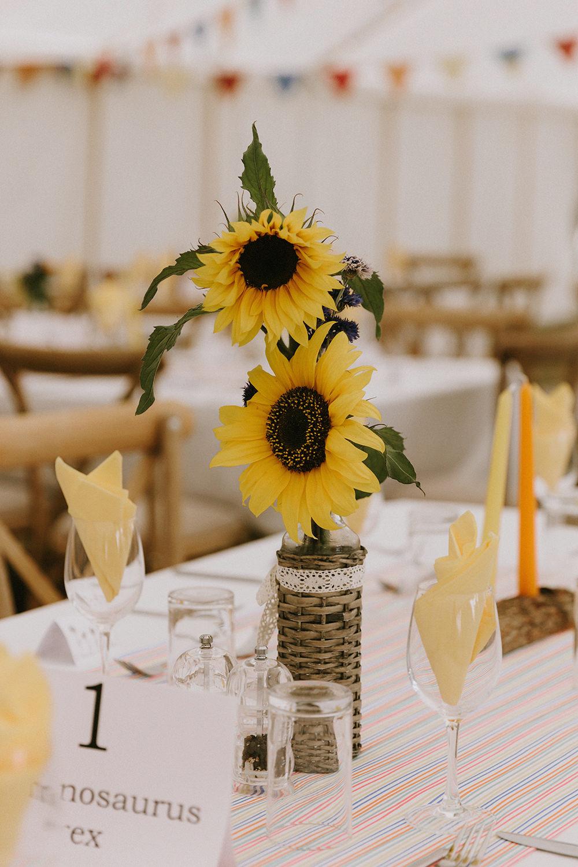 Table Flowers Centrepiece Sunflowers Wedding Chris Bradshaw Photography