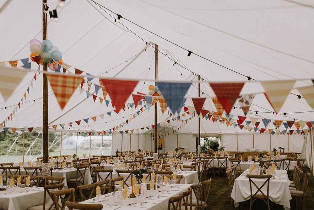 Marquee Buntung Festoon Lights Balloons Sunflowers Wedding Chris Bradshaw Photography