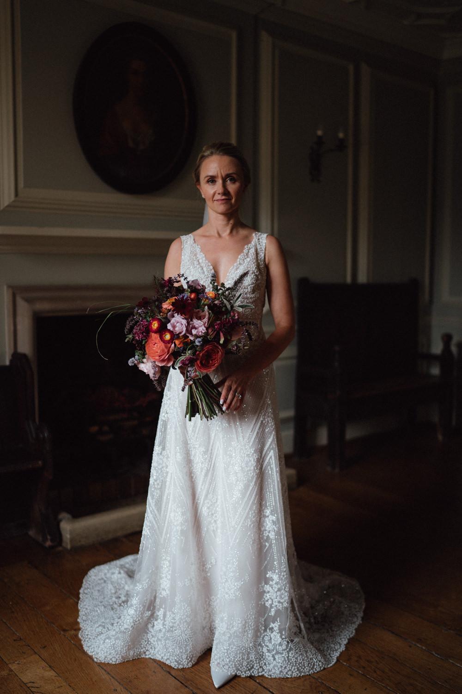Dress Gown Bride Bridal Embellished A Line Beaded Train Tara Keely Lazaro Ufton Court Wedding Emily & Steve Photography