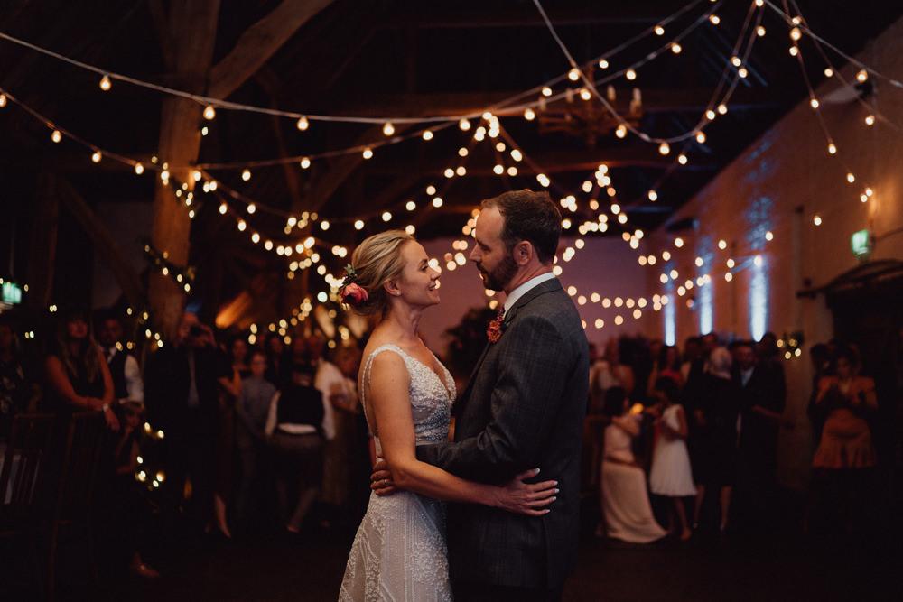 Barn Festoon Lights Lighting Ufton Court Wedding Emily & Steve Photography