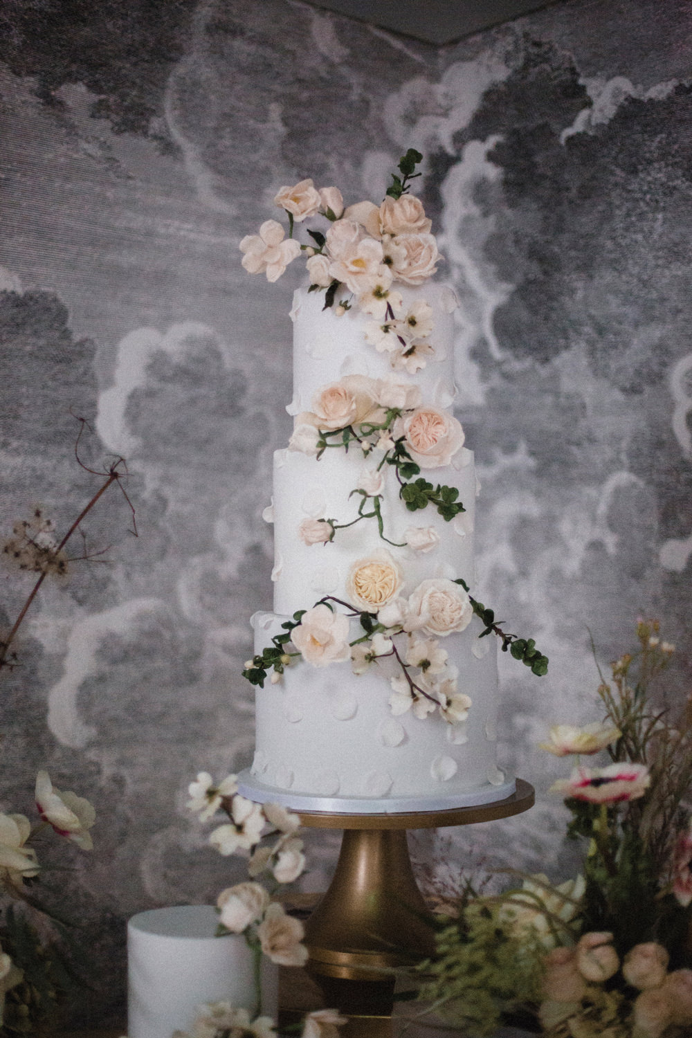 Floral Flower Cake Peach Spring Whimsical Elegant Wedding Ideas Mandorla London