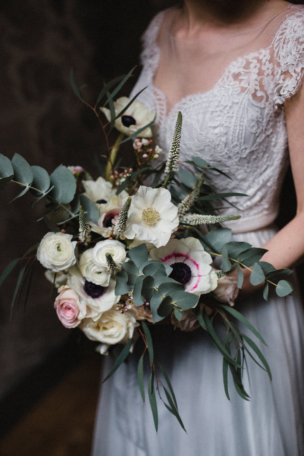 Bouquet Flowers Bride Bridal Peach Pink Anemone Rose Ranunculus Eucalyptus Whimsical Elegant Wedding Ideas Mandorla London