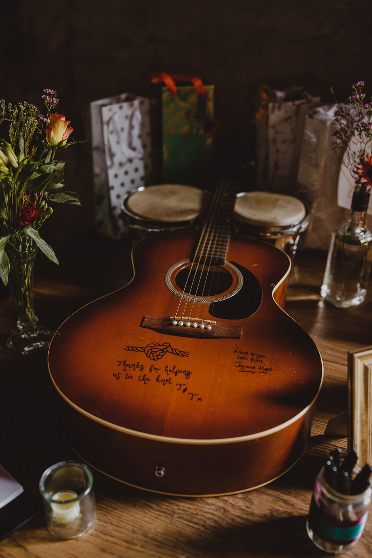 Guitar Guest Book Wiltshire Barn Wedding Photography34