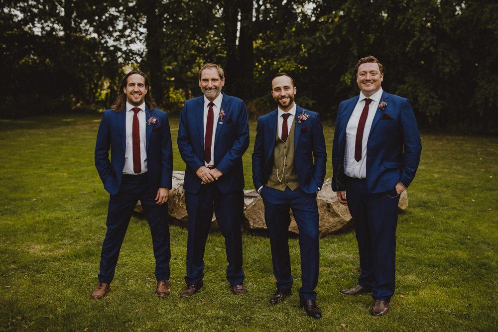 Groom Suit Blue Burgundy Tie Groomsmen Wiltshire Barn Wedding Photography34