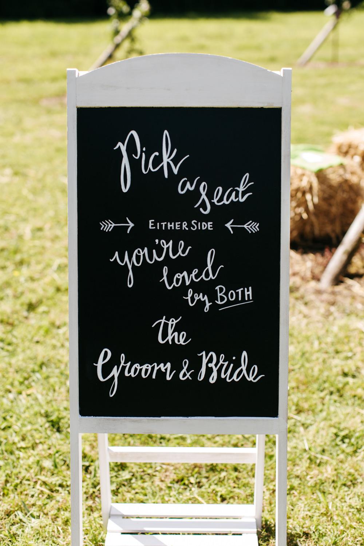 Pick a Seat Sign Signage Signs Wonwood Barton Wedding Emma Barrow Photography