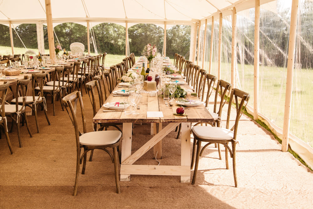 Clear Side Marquee Long Tables Decor Wonwood Barton Wedding Emma Barrow Photography
