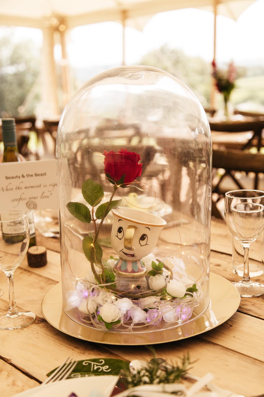 Beauty and the Beast Table Centrepiece Decor Wonwood Barton Wedding Emma Barrow Photography