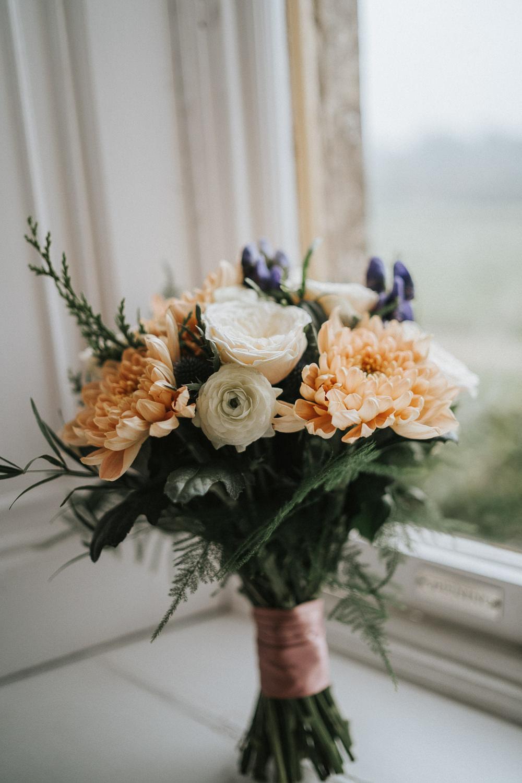 Bouquet Flowers Bride Bridal Peach Rose Woodland Wedding Inspiration Stephanie Dreams Photography