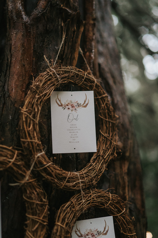 Table Plan Seating Chart Wreath Woodland Wedding Inspiration Stephanie Dreams Photography
