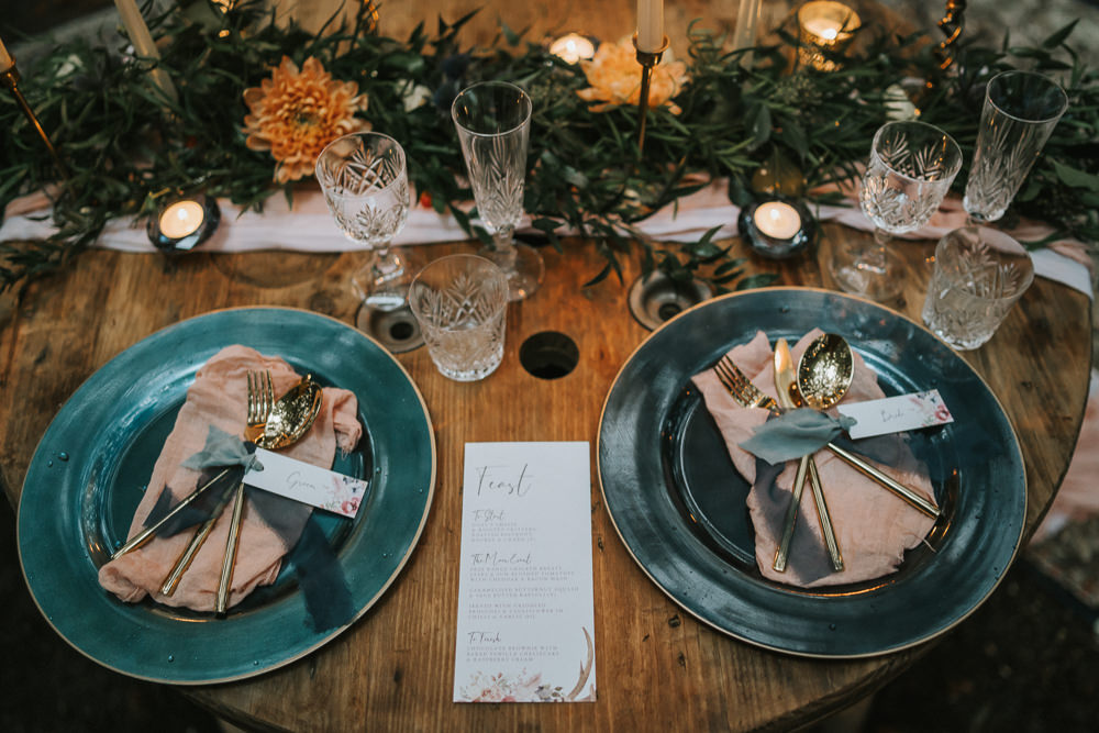 Sweetheart Table Candles Greenery Place Setting Woodland Wedding Inspiration Stephanie Dreams Photography