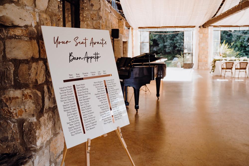 Table Plan Seating Chart Aquapetra Resort Spa Wedding Peter Hughes Photography