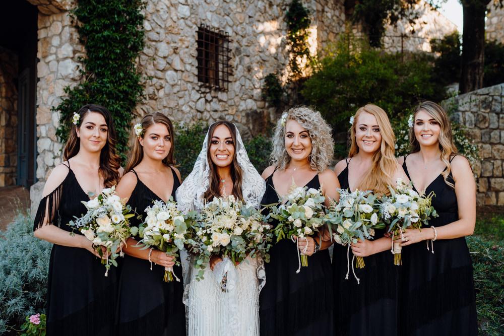 Bridesmaids Bridesmaid Dress Dresses Black Aquapetra Resort Spa Wedding Peter Hughes Photography