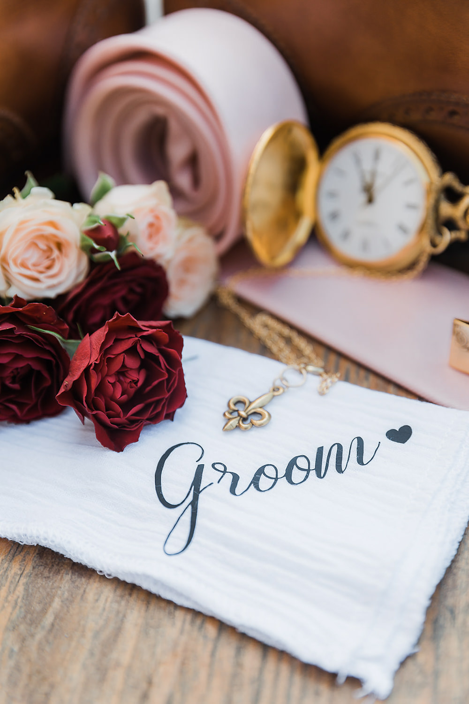 Handkerchief Personalised Groom California Ranch Wedding WildflowerPhotoCo