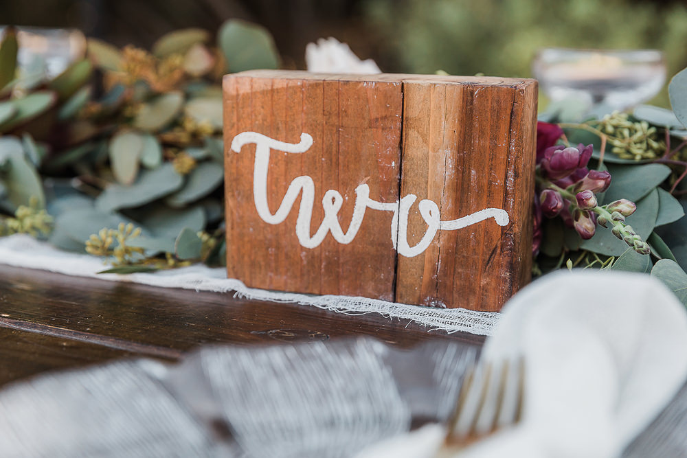 Wooden Table Number California Ranch Wedding WildflowerPhotoCo