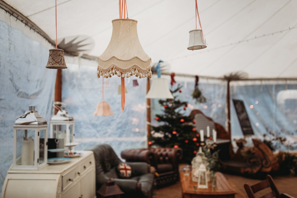 Hanging Suspended Lampshade Decor Christmas Marquee Wedding Thyme Lane Photography