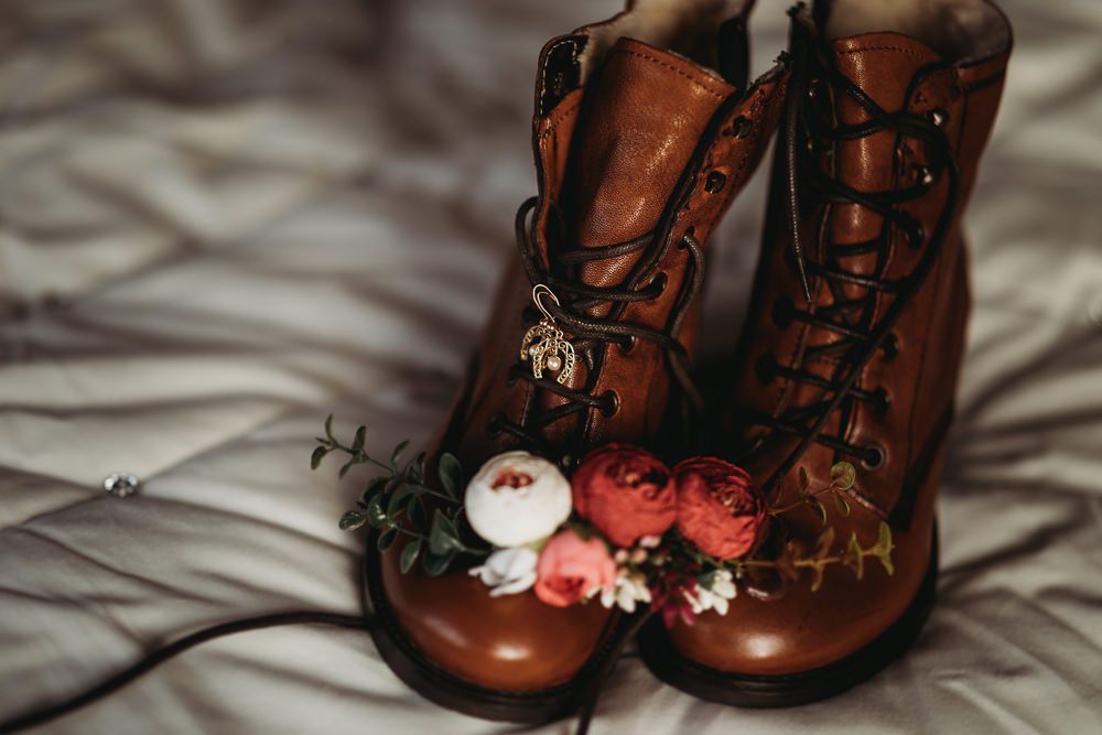 Bride Bridal Boots Christmas Marquee Wedding Thyme Lane Photography
