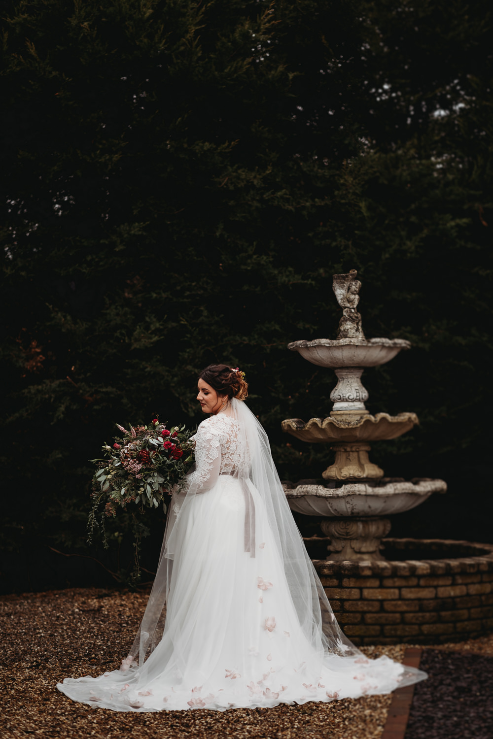 Dress Gown Bride Bridal Lace Top Long Sleeves Train Veil Christmas Marquee Wedding Thyme Lane Photography