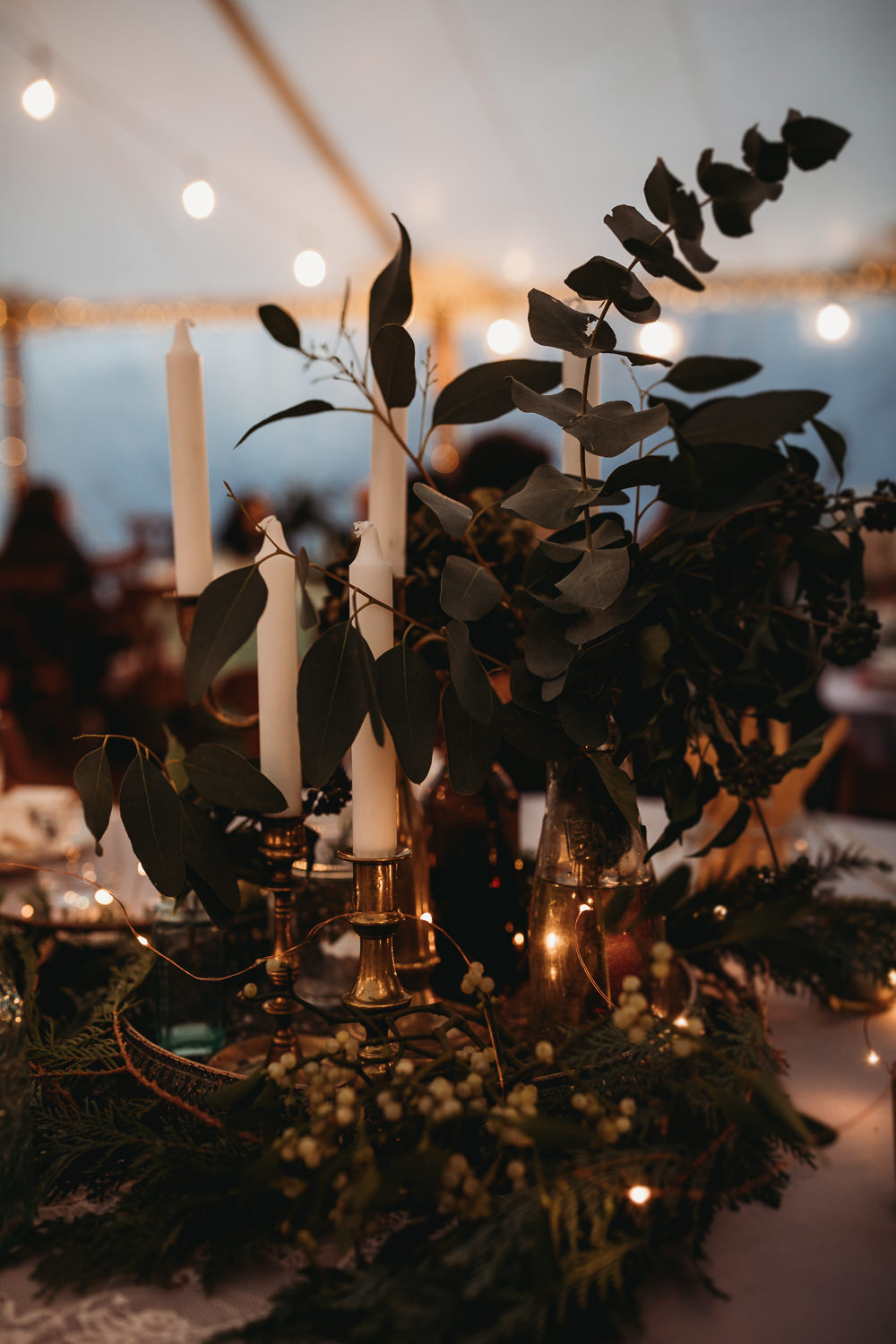 Centrepiece Decor Greenery Foliage Candles Brass Decor Decoration Christmas Marquee Wedding Thyme Lane Photography