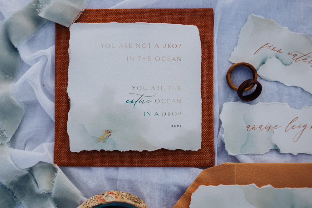 Stationery Suite Flat Lay Invite Invitation Rust Camel Callgraphy Coastal Elopement Manon Pauffin Photography