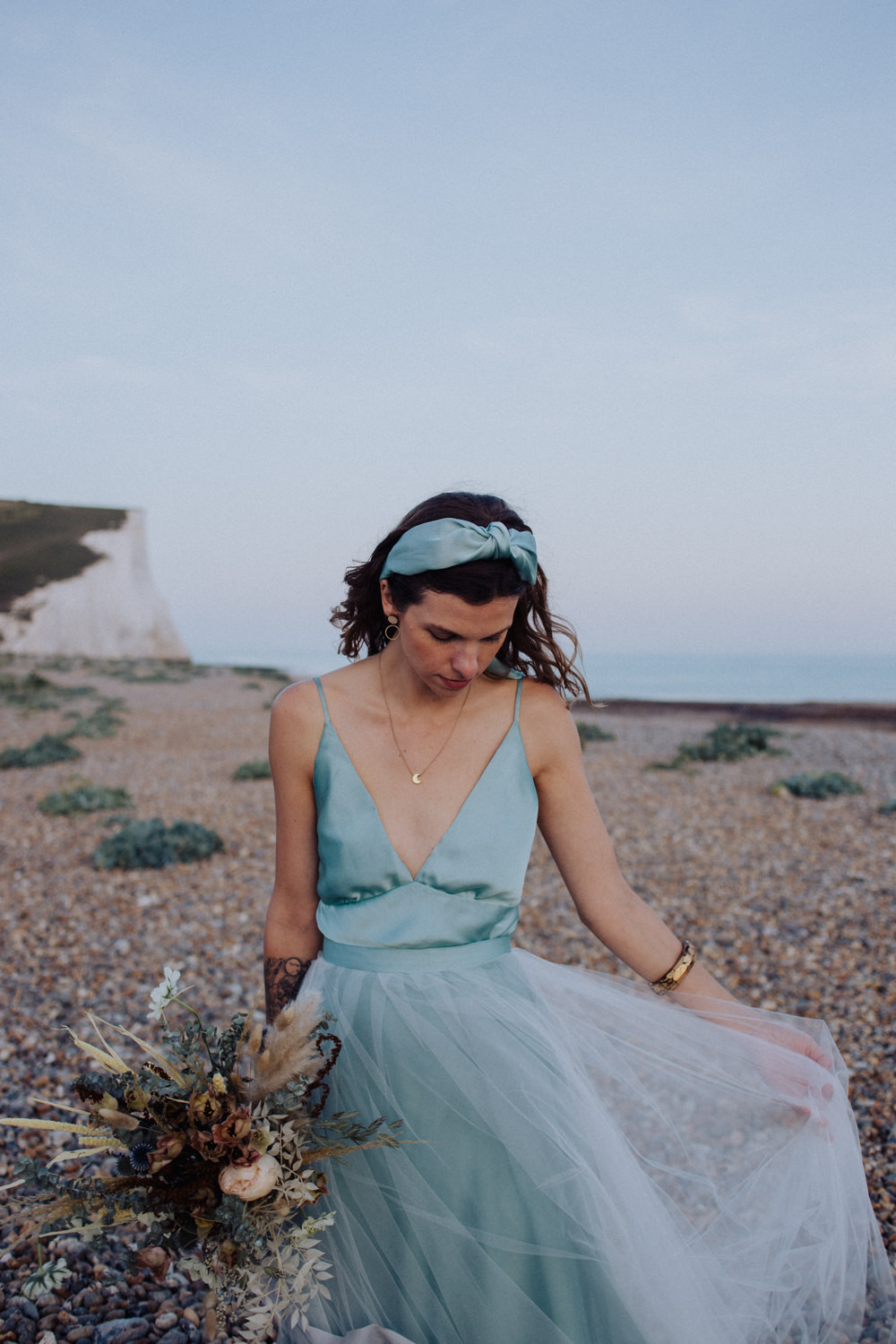 Dress Gown Bride Bridal Tulle Blue Coastal Elopement Manon Pauffin Photography