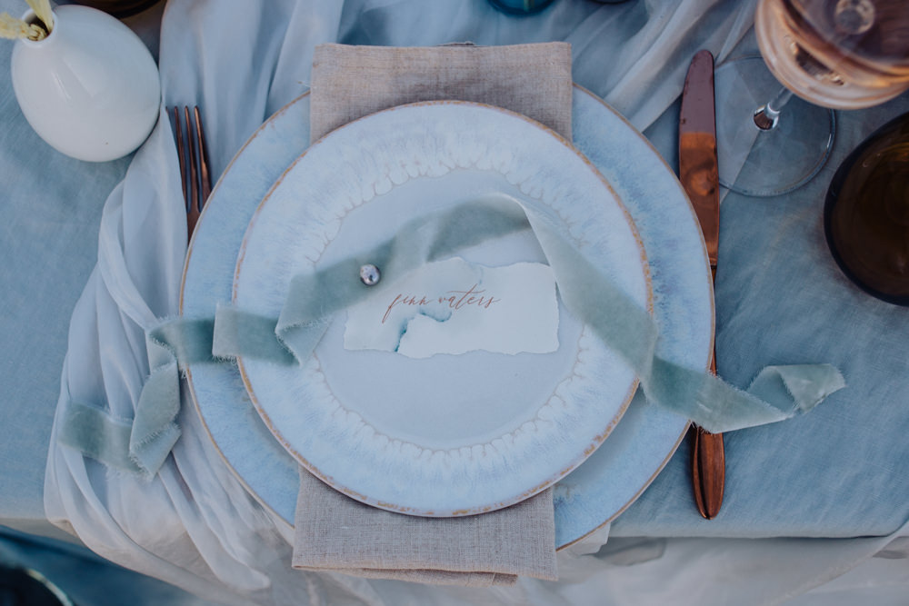 Place Setting Decor Place Name Ribbon Coastal Elopement Manon Pauffin Photography