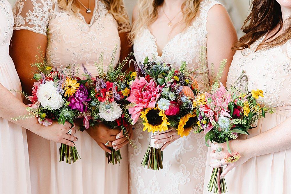 Bouquet Flowers Bride Bridal Bridesmaid Sunflower Dahlia Pink Yellow DIY Tipi Wedding Fiona Kelly Photography