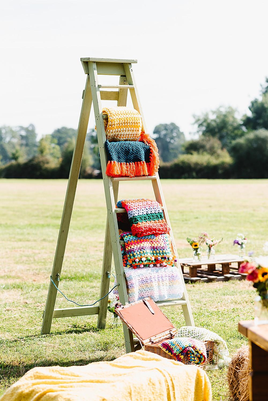 Woodn Ladder Blankets DIY Tipi Wedding Fiona Kelly Photography
