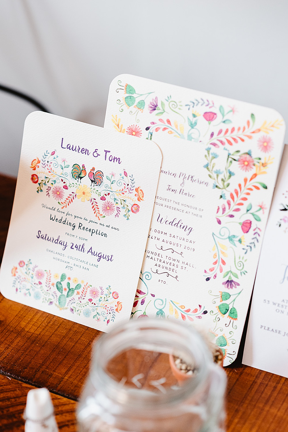 Floral Colourful Stationery Invite Invitations DIY Tipi Wedding Fiona Kelly Photography