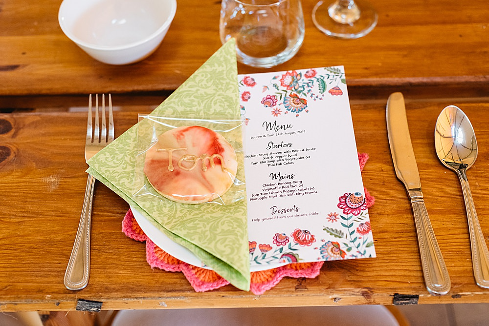 Place Setting Menu Cookie Place Name DIY Tipi Wedding Fiona Kelly Photography