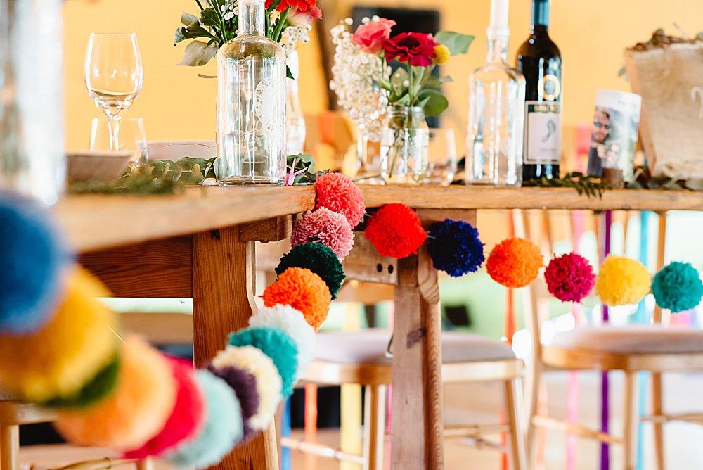 Wool Pom Pom Garland DIY Tipi Wedding Fiona Kelly Photography