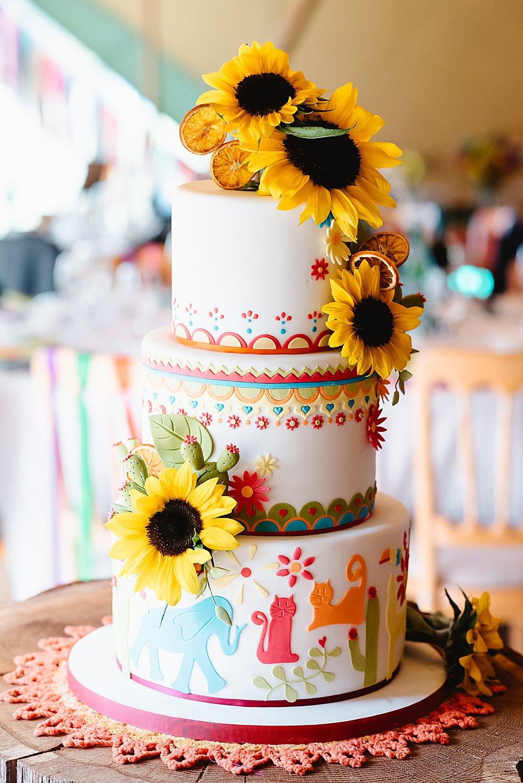 Colourful Multicolour Animal Cake Sunflowers DIY Tipi Wedding Fiona Kelly Photography