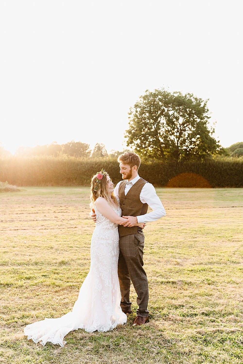 Dress Gown Bride Bridal Lace Pink Kenneth Winston DIY Tipi Wedding Fiona Kelly Photography
