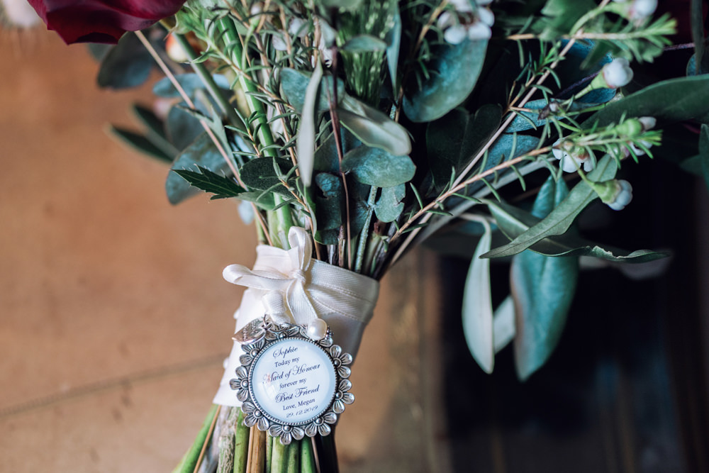 Bouquet Locket Decadent Christmas Wedding Jessica Raphael Photography