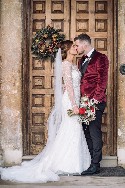 Wreath Door Decadent Christmas Wedding Jessica Raphael Photography