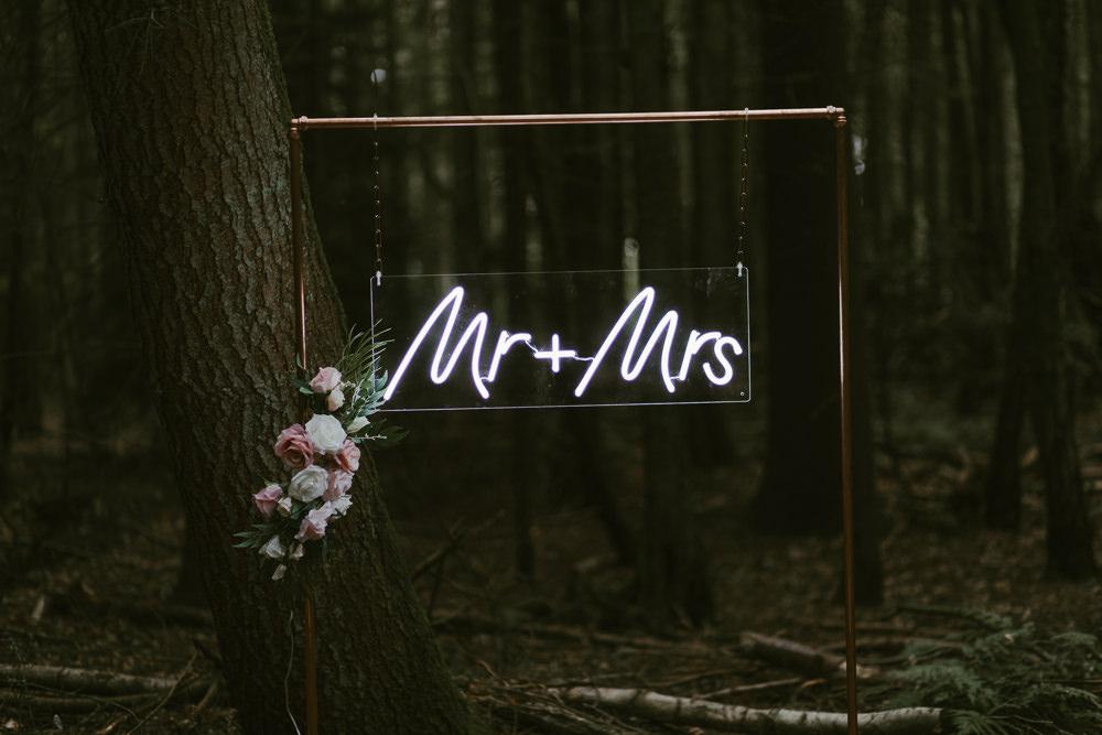 Neon Sign Signs Signage Backdrop Dreamy Woodland Wedding Ideas Jasmine Andrews Photography