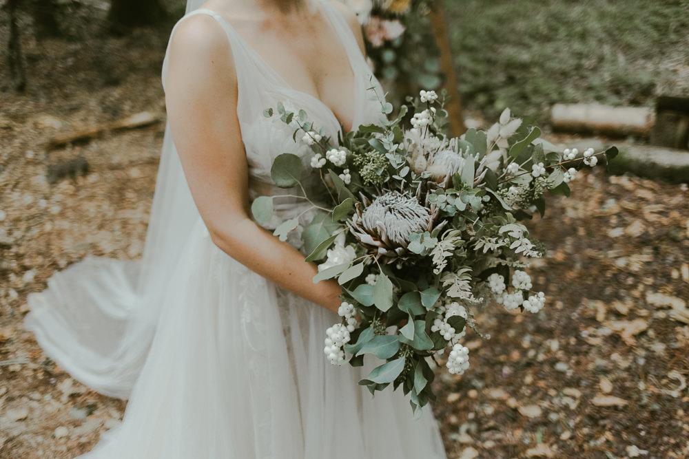Bouquet Flowers Bride Bridal Greenery Foliage Protea Berries Dreamy Woodland Wedding Ideas Jasmine Andrews Photography