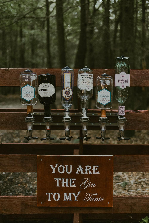 Gin Bar Drinks Dreamy Woodland Wedding Ideas Jasmine Andrews Photography