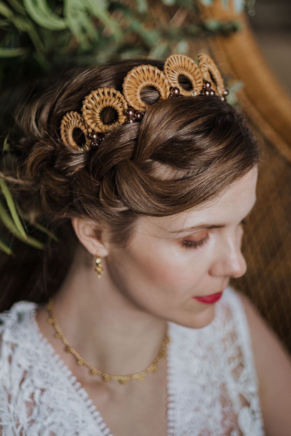 Bride Bridal Hair Style Up Do Halo Plait Crown Tiara Accessory Ethical Wedding Ideas Jenna Kathleen Photographer