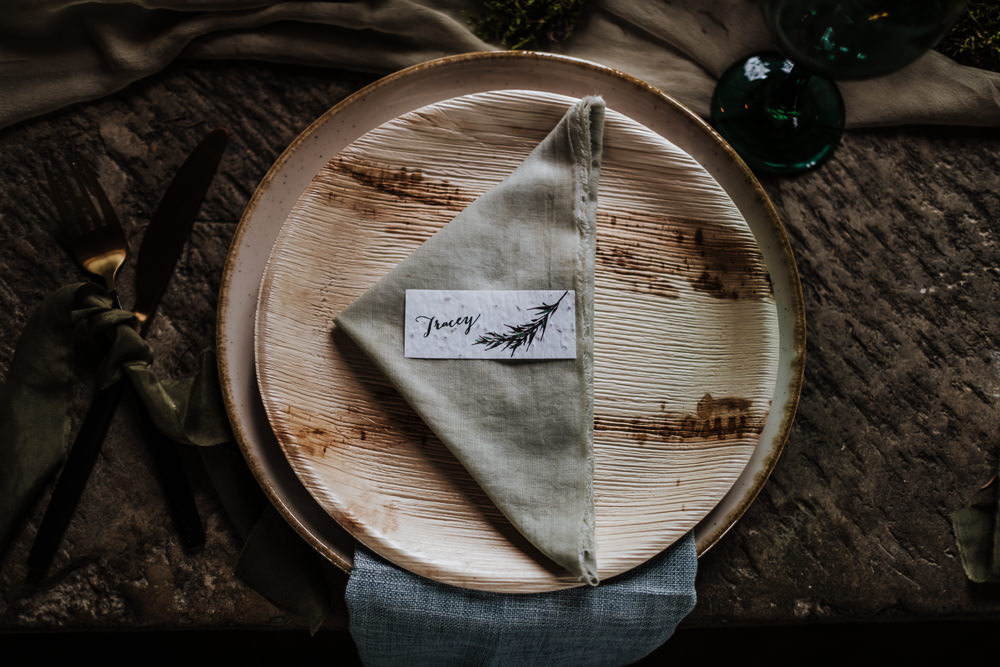 Place Setting Decor Plate Napkin Place Name Card Ethical Wedding Ideas Jenna Kathleen Photographer