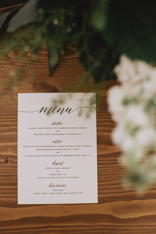 Menu Calligraphy Natural Marquee Wedding Fox & Bear Photography