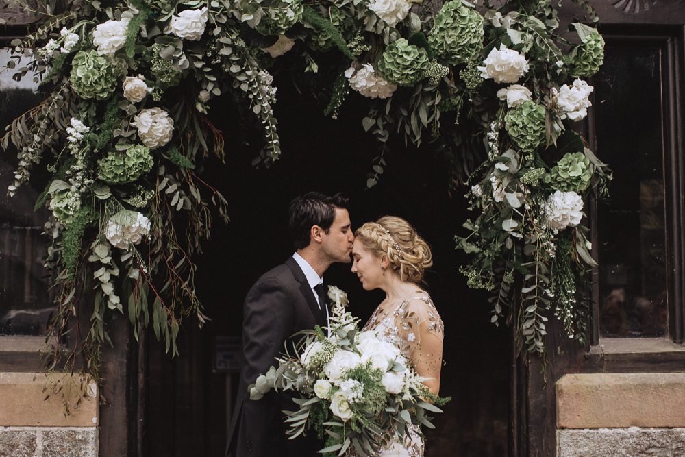 Natural Marquee Wedding Fox & Bear Photography Flower Arch Church Greenery Foliage Flowers Floral Backdrop