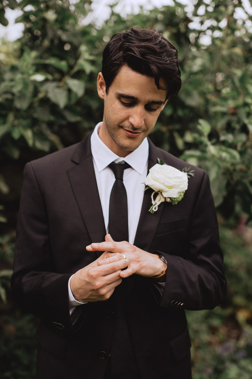 Groom Suit Tie Natural Marquee Wedding Fox & Bear Photography