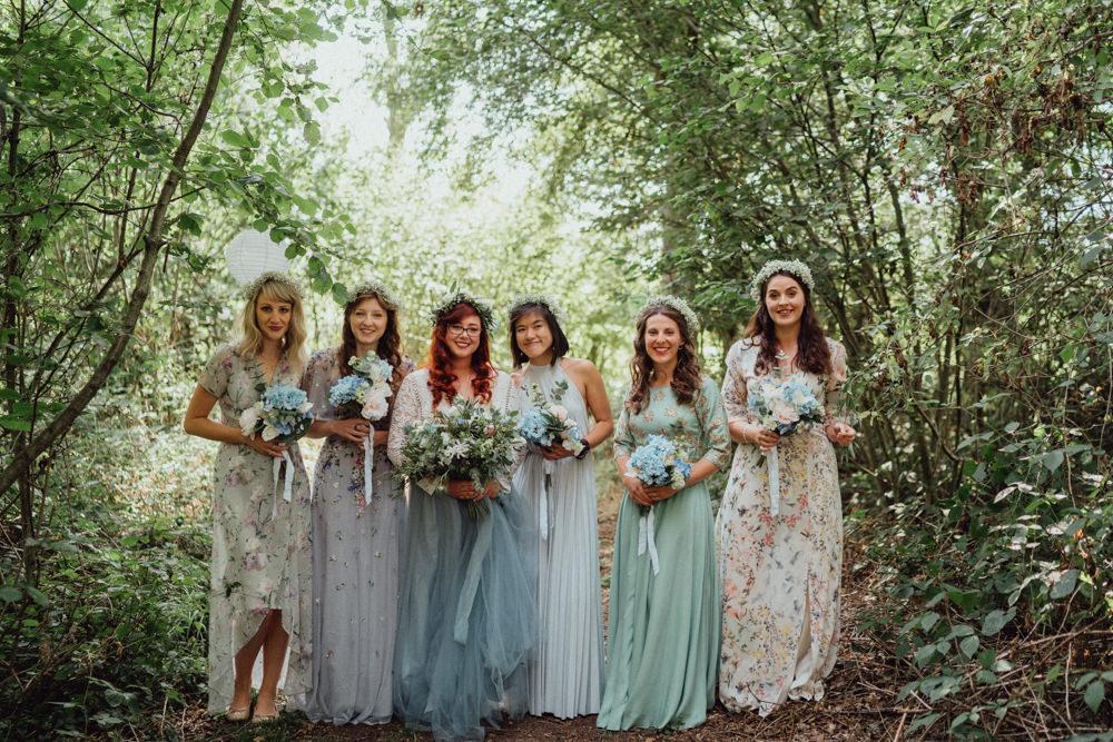 Flower Crown Bridesmaids Bridesmaid Dresses Mismatched Pastel Pitt Hall Barn Wedding Emily & Steve Photography