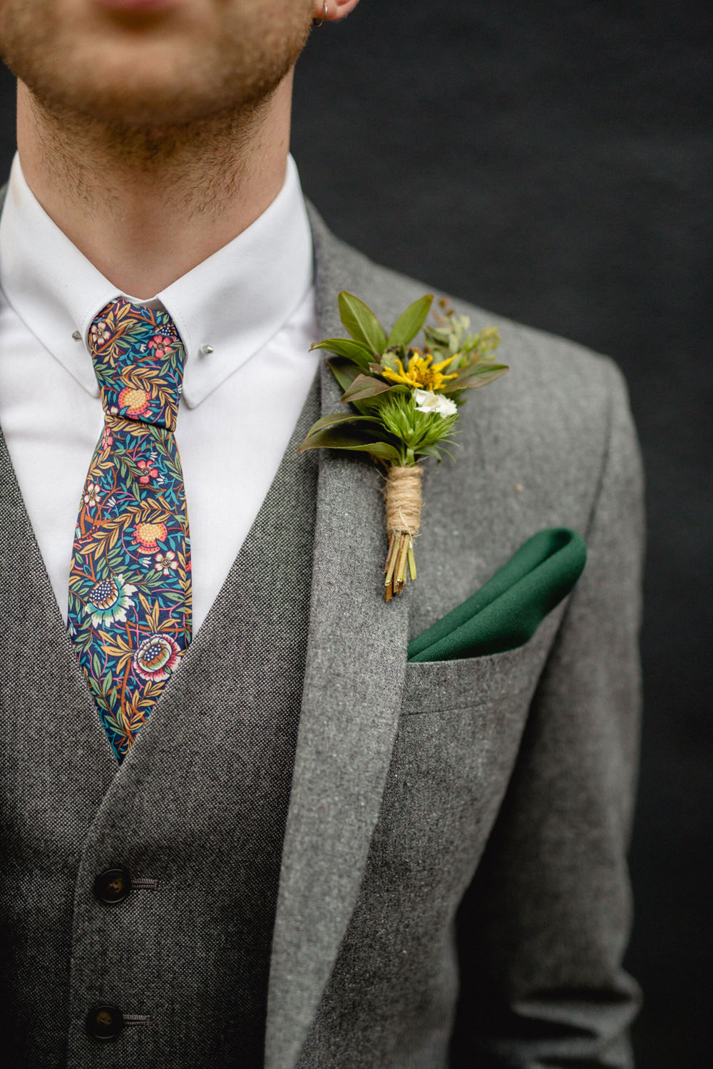 Groom Suit Grey Floral Tie Buttonhole Twine Sheffield Town Hall Wedding Mark Newton Wedding Photography