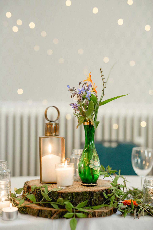 Centrepiece Decor Log Slice Vase Bottle Flowers Candles Sheffield Town Hall Wedding Mark Newton Wedding Photography