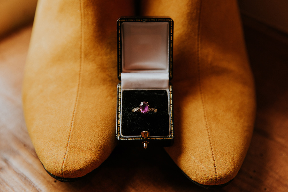 Engagement Ring Amethyst Simple Autumn Wedding Maddie Farris Photography