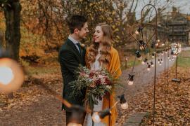 Festoon Lights Simple Autumn Wedding Maddie Farris Photography