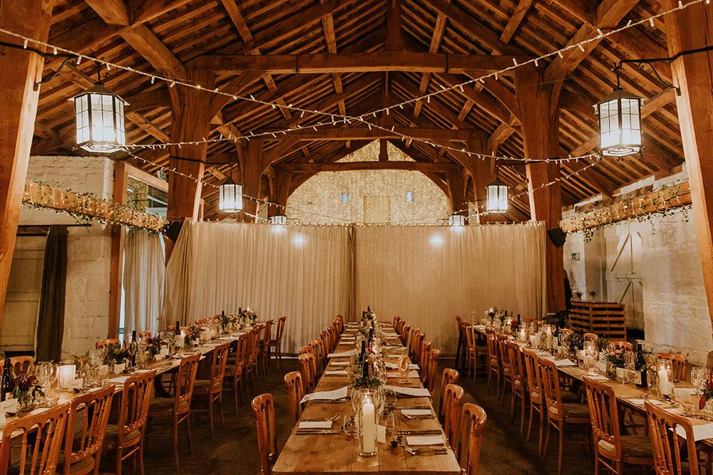 Barn Fairy Lights Decor Long Tables Simple Autumn Wedding Maddie Farris Photography