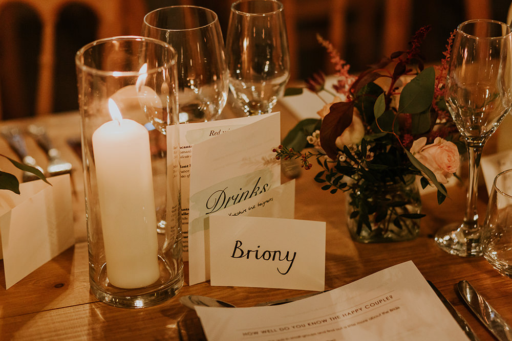 Place Name Card Simple Autumn Wedding Maddie Farris Photography