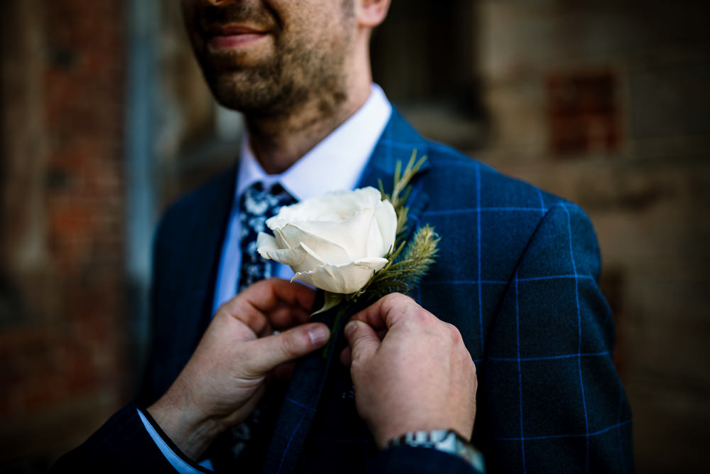 White Rose Buttonhole Groom Sperry Tent Wedding Hayley Baxter Photography